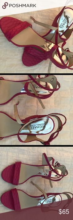 Michael Kors pink strappy sandals! I have these in black and nude, they are my favorite! These were worn once! Would look great for spring/summer, with pretty much anything!! Michael Kors Shoes Sandals