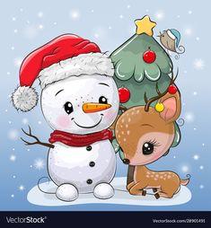 Cute Cartoon Deer Snowman Near Christmas Stock-Vektorgrafik (Lizenzfrei) 1586883523 Christmas Stocking Images, Dog Christmas Pictures, Christmas Photo Props, Holiday Pictures, Christmas Rock, Cool Christmas Trees, Christmas Animals, Christmas Crafts, Christmas Cartoons