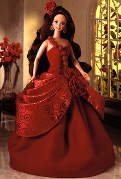 Looking for the Radiant Rose Barbie Doll? Immerse yourself in Barbie history by visiting the official Barbie Signature Gallery today! Beautiful Barbie Dolls, Vintage Barbie Dolls, Barbie Gowns, Barbie Clothes, Doll Dresses, Cinderella Gowns, Red Gowns, Costume Collection, Barbie Collector