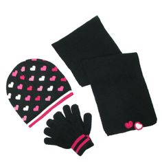 Girls Hat Scarf and Glove Set with Hearts by CTM. Beanie cap & scarf with hearts. Stretch gloves
