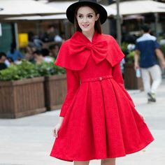 Fashion Trends, Cute Red Cape Dress With Floral Printing Motif Mixed With Big Ribbon On Collar Accent And Sparkling Crystals Beads On Cape Dress Waist Band Beautify Pleated Skirt Also Black Cowboy Hat : Cape Dress Create Stylish Looks