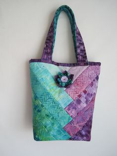 Purple and Teal Batik Tote - Heavily Padded - Padded Straps - Pretty, Bright Colors -12 in x 9 in x 4 in - Lots of pockets