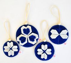 KALEIDOSCOPE BALL SETS - ROYAL BLUE + CREAM Heartfelt Christmas Decorations - to spread a lot of joy!