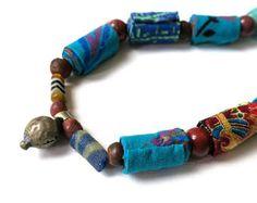Fibra Oriental turquesa collar, collar de turquesa, collar oriental