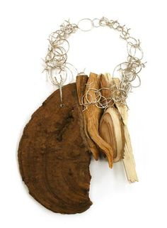 Crafted wood & silver necklace - jewellery from nature; contemporary art jewelry // Edgar Mosa