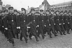 Cadets of the Moscow Suvorov Military High School marching through Red Square at the 1963 Moscow October Revolution Day Parade.