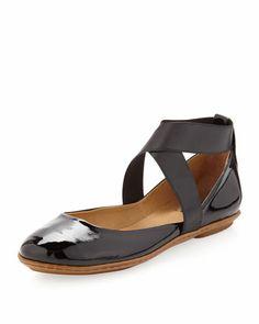 Sandy Crisscross Ballerina Flat, Black Patent by Dee Keller at Neiman Marcus Last Call.