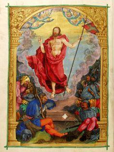 Nikolaus Glockendon. The Resurrection, Missale Hallense of Albrecht of Brandenburg, 1524, Aschaffenburg, Hofbibliothek, Ms. 10, fol. 153v