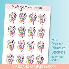 Hand Drawn Art Palette Stickers  Cute Art Time by virgoandpaper
