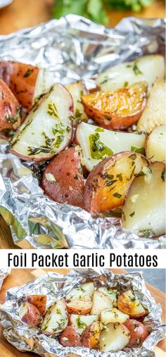 These easy Foil Packet Garlic Potatoes are cooked on the grill or in the oven with lots garlic and herbs for a perfectly tender roasted potatoes recipe packed with flavor. Make them as a side with your grilled steak or serve them along with roasted chicke Grilled Chicken Sides, Grilled Side Dishes, Side Dishes For Chicken, Potato Side Dishes, Grilled Veggies, Roasted Chicken, Side Dishes With Steak, Sides With Chicken, Vegetables On The Grill