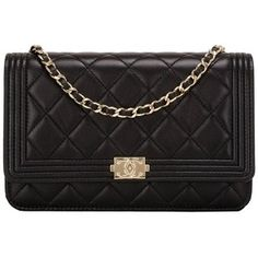Chanel Black Quilted Lambskin Boy Wallet On Chain (WOC) Gold Hardware