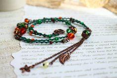 Long green necklace Hand knit macrame necklace Hippie by byHamelin