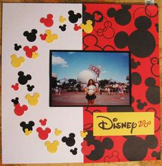 disney  - cute Idea with the mickey heads in a circle Vacation Scrapbook, Disney Scrapbook Pages, Scrapbook Sketches, Scrapbook Page Layouts, Scrapbook Paper Crafts, Scrapbook Cards, Scrapbook Photos, Images Disney, Disney Ideas