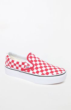 Rock a cute and casual style with the Vans Women s Classic Red and White  Slip-On Platform Sneakers. These iconic Vans sneakers boast a durable canvas  upper ... 47459283b