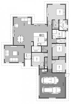 Bungalow House Plans, Dream House Plans, Dream Houses, Open Plan Kitchen, Kitchen Dining, Double Bedroom, Master Bedroom, Double Garage, House Blueprints