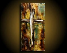 Religious Art Modern THE RAW CANVAS Abstract Painting Cross Painting ~ Quote ~ Earthy Encaustic Painting Beeswax Christian Art