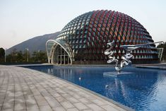 """The Project uses landmark images for the Conghua hot spring industry fused three local characters. The three characters are lychee, hot spring and the """"Liu Xi River"""" (流溪河). """"Lychee Cong Hua"""" is """"Lychee Kingdom"""", The Project is a Tourism Feature Landscape Architecture, Landscape Design, Pavilion Design, China, Guangzhou, Abstract Sculpture, Pavement, Hot Springs, World"""