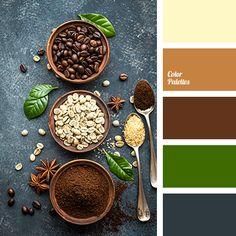 blue-gray, bright green, bright reddish-brown, cinnamon color, cocoa color, coffee color, color of brown sugar, greenery, light yellow, reddish brown, saturated green, shades of brown, shades of spice, warm brown.