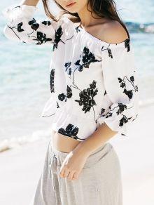 Fresh Style Off-The-Shoulder Black Floral Printed Short Blouse For Women