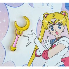 Moon Stick Enamel Pin Sailor Moon Lapel Pin Glitter enamel Limited... ❤ liked on Polyvore featuring jewelry, brooches, enamel butterfly brooch, pin jewelry, polish jewelry, gold tone jewelry and enamel jewelry