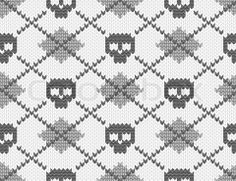 Stock vector of 'Knitted pattern with skulls'