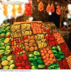 Fruit and Vegetable Stand at Outdoor Market Near Graskop, South Africa - Stock Photos : Masterfile Vegetable Stand, Fruits Images, Fruit Stands, South African Recipes, Fresh Market, World Of Color, Unique Recipes, Fruits And Vegetables, Farmers Market