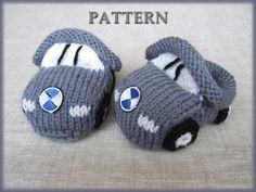Knitted baby booties 'grey cars' PDF pattern sizes by davodix, $4.99
