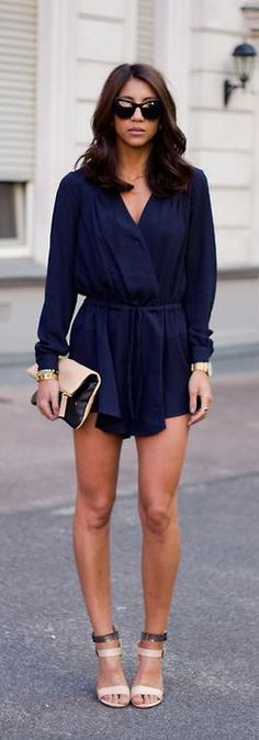 Suited In Navy + strappy heels