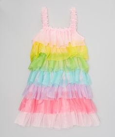 Wenchoice Rainbow Ruffle Dress - Infant, Toddler & Girls | zulily