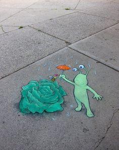 STREET ART UTOPIA » We declare the world as our canvasCalk Art by David Zinn 8 » STREET ART UTOPIA