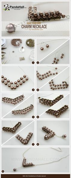 """How to make your own charm necklace out of common beads that you have bought from stores? Here, a practical charm necklace making project is available. By the very common beads, you can produce a characteristic jewelry ornament with a new """"V"""" shape!:"""
