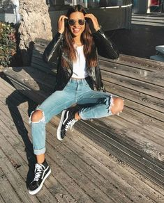 Photo Casual style addiction / leather jacket + white tee + ripped jeans + sneakers from How To Wear Sporty Outfits: Best Stylish Looks Mode Outfits, Winter Outfits, Summer Outfits, Casual Outfits, Fashion Outfits, Fresh Outfits, Fashion Clothes, Leather Jacket Outfits, Outfit Jeans