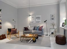 Scandinavian Living Room Design Ideas with Original Table and Grey Wall, Sofa and Rug