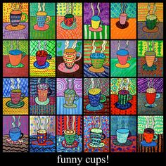 CONTINUITY IN COLOR--------------elementary art lesson grade coffee cups tempera paint pattern color. Would love to find this template to make a piece of art for my kitchen!Art lessons for children that will teach them how exactly to draw, craft and Winter Art Projects, School Art Projects, Texture Art Projects, Winter Project, Class Projects, Pop Art, Square 1 Art, Arte Elemental, 2nd Grade Art