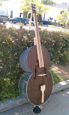 upright string bass made with washtubs and a plunger. I will not do this and it is very very cool.