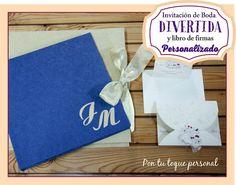 Invitación de boda divertida con libro de firmas personalizado