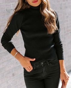 Fitted 45% Viscose, 28% Polyester and 24% Nylon Hand Wash Cold, Dry Flat Rollover Turtleneck Billowy Long Sleeves Ribbed Fabrication No Closures Not Lined  With Fall right around the corner, it's time to expand your essentials with the Highrise Ribbed Turtleneck Sweater! This fitted black turtleneck features a semi-t Ribbed Turtleneck, Black Turtleneck, Skinny Legs, Black Denim, Vegan Leather, Bodysuit, Turtle Neck, Long Sleeve, Sleeves