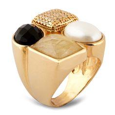 Anelsemi joia em banho de ouro 18k,quartzorutilado, ônix, pérolae detalhes com cravação de zircônias.Peso:16 gramas.