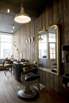 Truffle Hair Salon- love the wood walls and floors, not to crazy about the dentisty looking barber chair but i would make this place just lovely ; )
