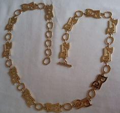 Vintage, anni '70, Pierre Cardin necklace, collana tono oro