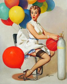 """""""Taking Off"""" by Gil Elvgren 1955"""