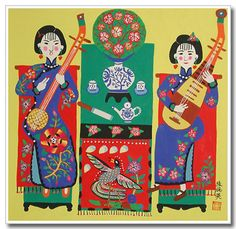 Chinese peasant painting, folk art, women, ballad singing
