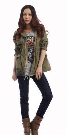 Military jackets, t shirts, skinnies and boots :)