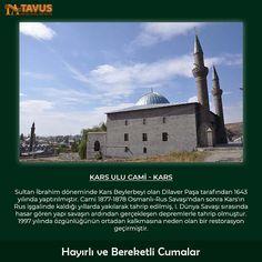 Hayırlı ve Bereketli Cumalar Kars Ulu Cami - Kars Sultan İbrahim döneminde Kars Beylerbeyi olan Dilaver Paşa tarafından 1643 yılında yaptırılmıştır. Cami 1877-1878 Osmanlı-Rus Savaşı'ndan sonra Kars'ın Rus işgalinde kaldığı yıllarda yakılarak tahrip edilmiş... Tavus Halı Cami Halısı, Yurt Halısı %100 Yün ve Akrilik Halı www.tavus.com.tr Tel+90(216)461 4545  #tavushali #camihalısı #cami #halı #hali #halimodelleri #dekoratifhalı #halıdesenleri #yünhalı #bugün
