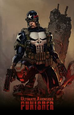 Ultimate Avengers Punisher by HMT Studios Marvel Comic Character, Comic Book Characters, Comic Book Heroes, Marvel Characters, Comic Books Art, Comic Art, Book Art, Marvel Dc, Punisher Marvel