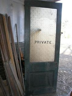 INUSTRIAL-vtg-GLASS-PANEL-PRIVACY-DOOR-ANTIQUE-PRIVATE-EYE-SALVAGE-ARCHITECTURAL