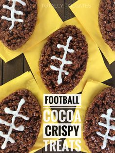 Football Rice Crispy Treats would be great for Super Bowl parties and tailgates! Football Cocoa Rice Crispy Treats are a great game day dessert! They are easy to package for tailgate parties or bake sales. Rice Crispy Treats, No Bake Treats, Krispie Treats, Yummy Treats, Delicious Desserts, Yummy Food, Tailgate Desserts, Tailgate Food, Tailgate Parties