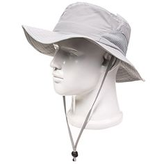 ad221287728 Home Prefer Men s Sun Hats Mesh Sides Breathable Light Weight UPF50+ Wide  Brim Fishing Hat with String Army green at Amazon Men s Clothing store