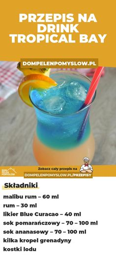Tropical Bay – drink warstwowy z malibu i ananasem Blue Curacao, Curacao Drink, Filter Bottle, My Favorite Food, Favorite Recipes, Tropical, Smoothie Drinks, Clean Eating Snacks, Gastronomia
