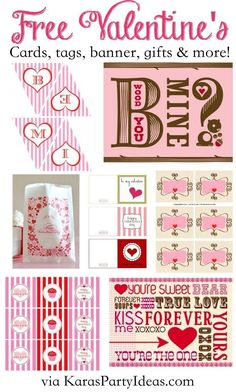 FREE Valentine's Day CARDS, TAGS, PRINTABLES, BANNERS, CUPCAKE TOPPERS, GIFTS & more! Via Kara's Party Ideas KarasPartyIdeas.com Kara Allen